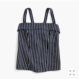 POINT SUR TURNOVER TOP IN STRIPED LINEN-COTTON